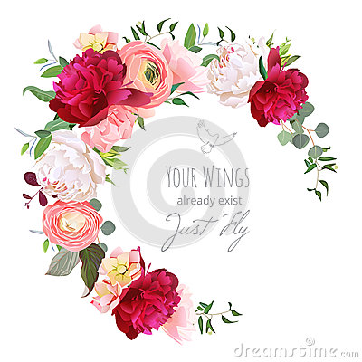 Free Luxury Floral Vector Round Frame With Ranunculus, Peony, Rose, Carnation, Green Plants On White Royalty Free Stock Photo - 78543935