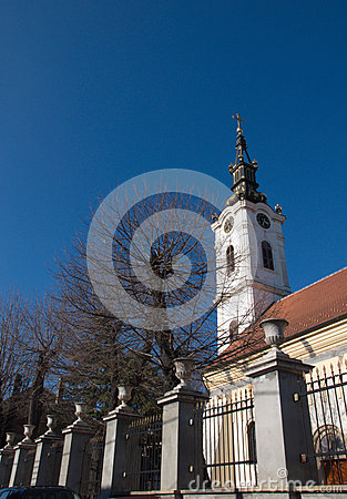 Free Luxury Glided Church Tower Against A Dark Blue Sky Royalty Free Stock Photo - 66371335