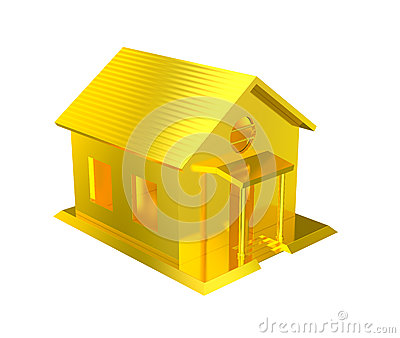 Luxury golden house isolated