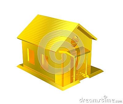 Luxury golden house isolated