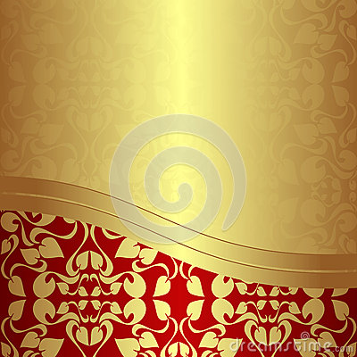 Luxury golden ornamental Background with red Borde