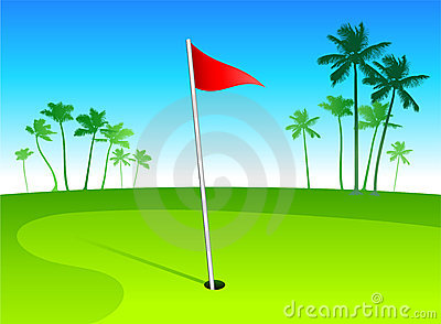 Luxury golf course with palm trees on blue sky bac