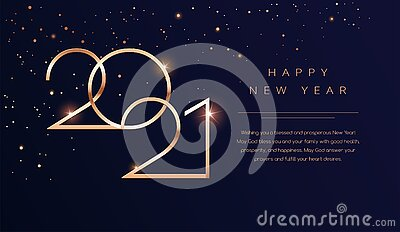 Luxury 2021 Happy New Year background. Golden design for Christmas and New Year 2021 greeting cards with New Year wishes of health Vector Illustration