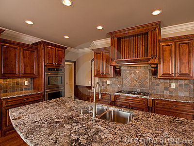 Luxury Home dark wood kitchen with countertop