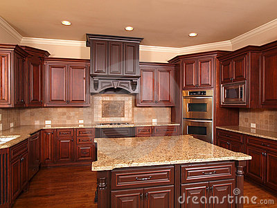 Luxury Home Kitchen Front Center Island Royalty Free Stock