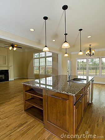 Luxury Home Kitchen island with Hanging Lights