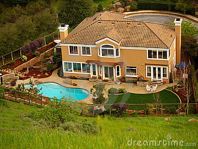 Luxury home with pool in the backyard