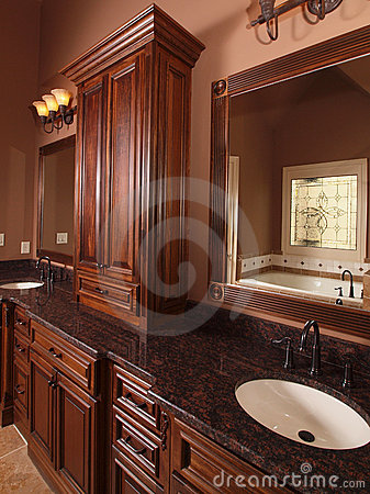 Free Luxury Home Tile Bathroom Double Sink Royalty Free Stock Photo - 11115525