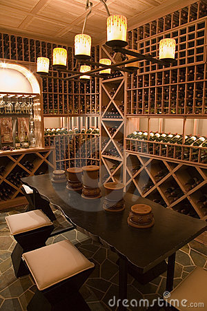 Luxury home wine cellar.