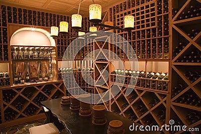 Luxury home wine cellar.