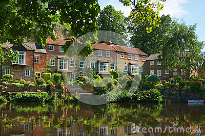 Luxury homes on river bank, Knaresborough, England