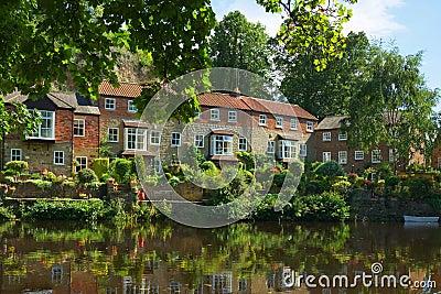 Luxury homes on river bank, Knaresborough, England