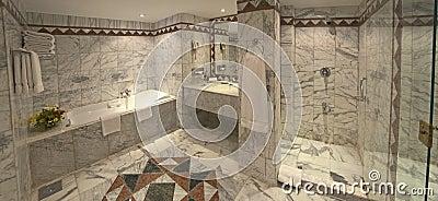 Luxury hotel bathroom suite