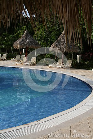 Luxury hotel garden with pool view