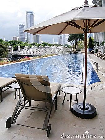Luxury hotel pool, city view