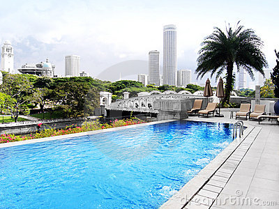 Luxury hotel pool, city view