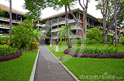 Luxury hotel resort with tropical garden in Bali, Indonesia