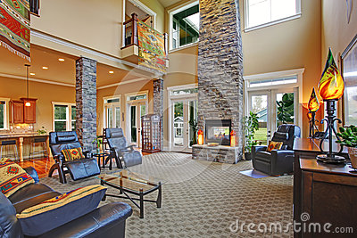 Luxury House Interior Living Room With Fireplace Stock