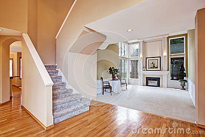 luxury house interior living room and hallway stock photo image