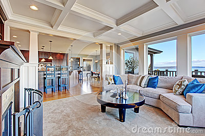 luxury house with open floor plan coffered ceiling