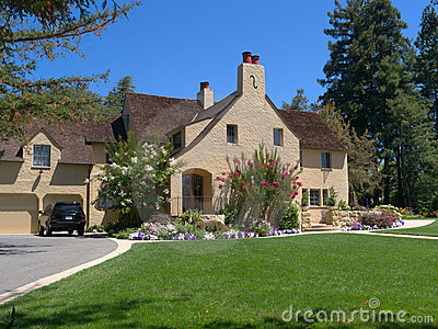 Luxury house with wide driveway and front lawn