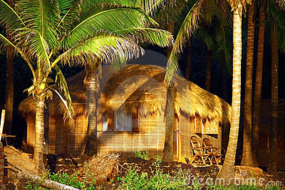 Luxury hut under coconut palms in goa