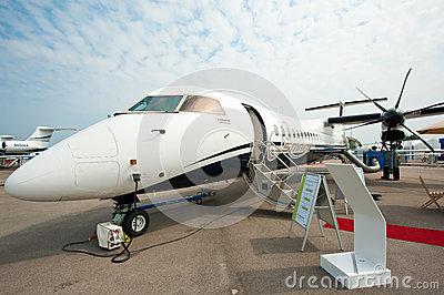 Luxury Jet Bombardier Q400 NextGen at Singapore Airshow 2014 Editorial Photography