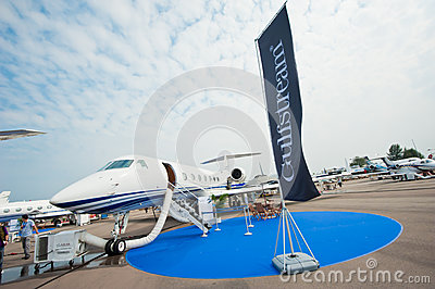 Luxury Jet Gulfstream G550 at Singapore Airshow 2014 Editorial Stock Image