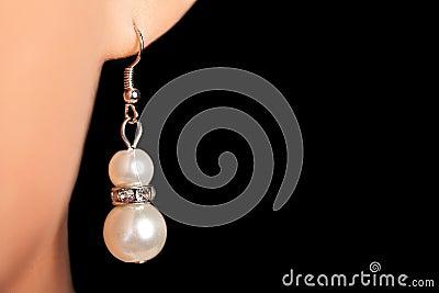 Luxury jewellery earring close up shot on woman ear