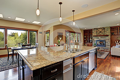 Luxury kitchen with bar style island stock photo image Luxury kitchen flooring