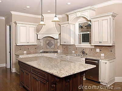 Luxury Kitchen with Granite Island and window