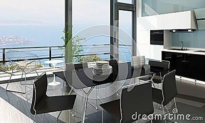 Luxury kitchen interior with modern furniture