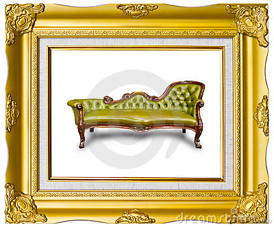 Luxury leather armchair in photo frame