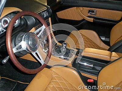 Luxury leather British car interior