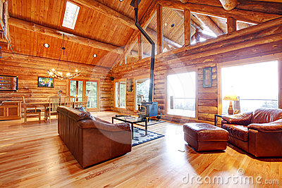 luxury log cabin living room with leather sofa stock image image 24498901