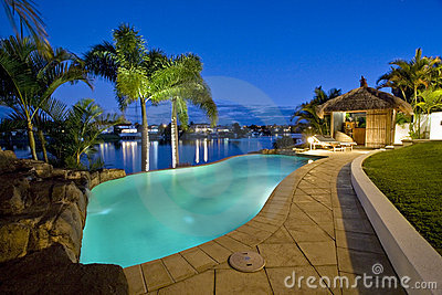 Luxury mansion outside deck with Bali hut