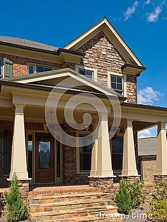Luxury Model Home Column Exterior Entrance Stock Photo