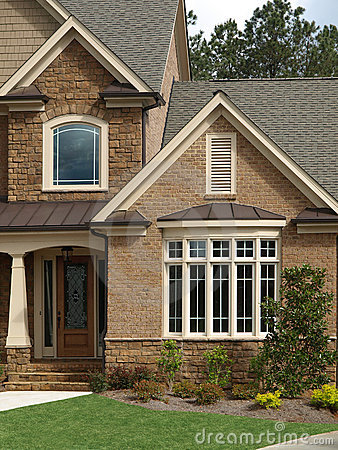 Luxury model home exterior front door bay window royalty - Houses with bay windows ...