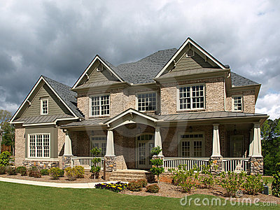 Luxury model home exterior stormy weather stock photos - Exterior stone paint model ...