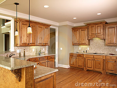 Luxury Model Home Honey Kitchen Cabinets Royalty Free Image – Model Home Kitchens