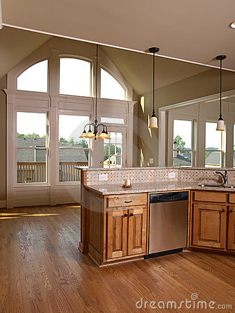 Luxury Model Home Maple Kitchen with window 3