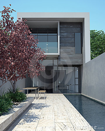 Free Luxury Modern Home With Pool Stock Photos - 4909383