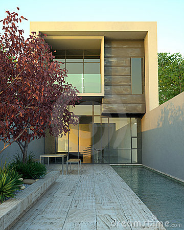 Free Luxury Modern Home With Pool Royalty Free Stock Photos - 4909518
