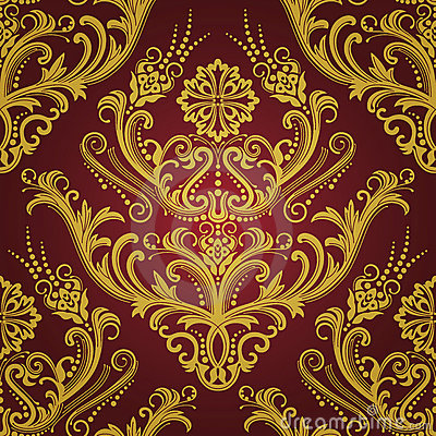 Free Luxury Red & Gold Floral Wallpaper Stock Photography - 14611352