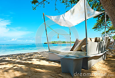 Luxury relax chair on a tropical beach