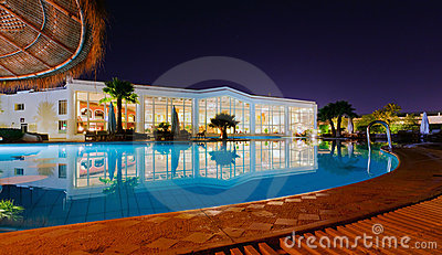 A luxury resort at night