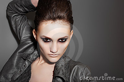 Luxury rock woman with fashion evening make-up