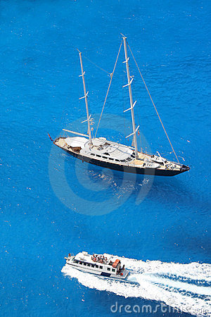 Luxury sailboat with azure sea