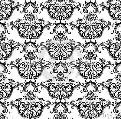 Free Luxury Seamless Black & White Wallpaper Royalty Free Stock Image - 15008816