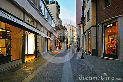 Luxury shopping street in Padova, Italy Editorial Stock Photo